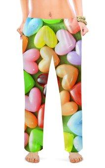 """Женские пижамные штаны """"сердце.любовь . """" - сердце, любовь, я люблю, сладость, конфетки"""