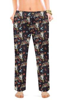 """Женские пижамные штаны """"Осень и корги"""" - собака, корги, пемброк, вельшкорги"""