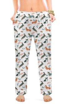 """Женские пижамные штаны """"лесные мотивы"""" - животные, собака, кардиган, корги, вельшкорги"""