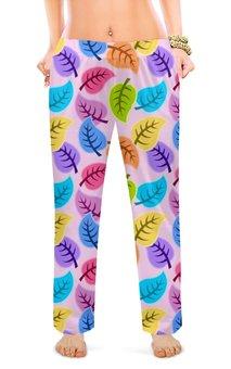 """Женские пижамные штаны """"ВЕСЕЛЫЙ ЛИСТОПАД"""" - листья, абстракция, нежность, стиль эксклюзив креатив красота яркость, арт фэнтези"""