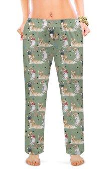 """Женские пижамные штаны """"Собака друг человека"""" - собака, французский бульдог, корги, вельшкорги, джекрассел"""