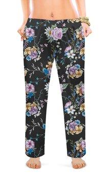 """Женские пижамные штаны """"ЦВЕТОЧНЫЙ СТИЛЬ. РОЗЫ"""" - абстракция, цветочный узор, стиль эксклюзив креатив красота яркость, арт фэнтези"""