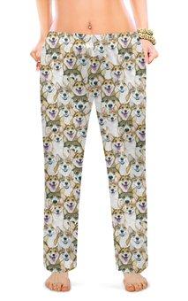"""Женские пижамные штаны """"коргимания"""" - собака, корги, вельшкорги"""