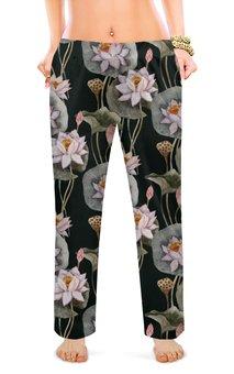 """Женские пижамные штаны """"ЦВЕТОЧНЫЙ СТИЛЬ"""" - природа, абстракция, лотос, стиль эксклюзив креатив красота яркость, арт фэнтези"""