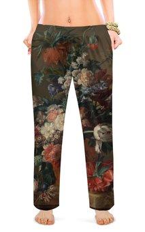"""Женские пижамные штаны """"Ваза с цветами (Ян ван Хёйсум)"""" - цветы, картина, живопись, натюрморт, ян ван хёйсум"""