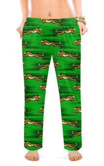 """Женские пижамные штаны """"ЛЕОПАРДЫ"""" - животные, абстракция, стиль эксклюзив креатив красота яркость, арт фэнтези"""