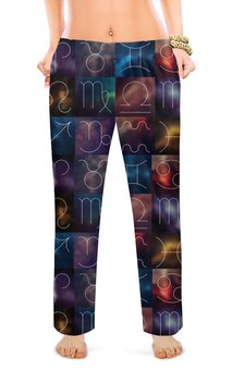 """Женские пижамные штаны """"ЗОДИАК"""" - стиль, красота, символ, знаки зодиака"""