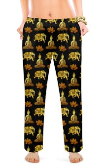 """Женские пижамные штаны """"Тайский узор"""" - слон, золотой, роскошь, таиланд, элегантный"""