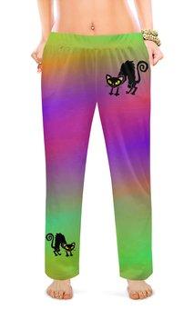 """Женские пижамные штаны """"ЧЕРНАЯ КОШКА"""" - животные, стиль эксклюзив креатив красота яркость, арт фэнтези"""