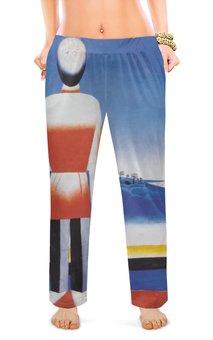 """Женские пижамные штаны """"Человек в супрематическом ландшафте"""" - картина, живопись, малевич"""