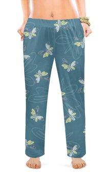 """Женские пижамные штаны """"Бабочки"""" - крылья, силуэт, рисунок, мотыльки, мел"""