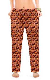 """Женские пижамные штаны """"Дикая малина"""" - красный, ягоды, малина, сладкий, аромат"""