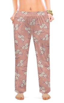 """Женские пижамные штаны """"Ветки цветущей вишни"""" - цветок, весна, розовый, вишня, ветка"""