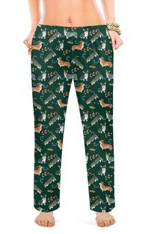 """Женские пижамные штаны """"Лесные мотивы"""" - животные, кардиган, корги, пемброк, вельшкорги"""