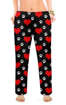 """Женские пижамные штаны """"СЕРДЕЧКО"""" - сердца, абстракция, следы кошки, стиль эксклюзив креатив красота яркость, арт фэнтези"""