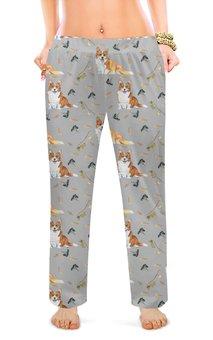 """Женские пижамные штаны """"Осенний вальс корги"""" - животные, собака, рыжий, корги, вельшкорги"""