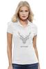 """Рубашка Поло Stella Plays """"Dear Deer"""" - рисунок, дизайн, олень, минимализм, рога"""