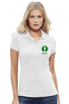 "Рубашка Поло Stella Plays ""Вежливая планета"" - армия, россия, логотип, вежливые люди, моя планета"