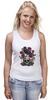 """Майка (Женская) """"Череп и ворон"""" - skull, арт, авторские майки, black, red, tattoo, тату, розы, raven, roses"""