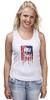 "Майка (Женская) ""Американский череп"" - skull, череп, америка, usa, флаг"