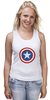 "Майка (Женская) ""Marvel"" - комиксы, супергерой, marvel, марвел, капитан америка, captain america"