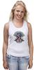 "Майка (Женская) ""Skull Art"" - skull, череп, usa, американский флаг, american flag"