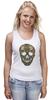 "Майка (Женская) ""Череп"" - skull, череп, узор, сова, паттерн, символ, дудл"