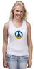 "Майка (Женская) ""Ukraine PEACE"" - мир, peace, yellow, blue, ukraine, украина, пацифизм"