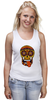 "Майка (Женская) ""PSYSCULL"" - череп, scull, оранжевый, orange, психоделика, оранж"