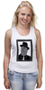 "Майка (Женская) ""DeadBroke"" - арт, man, стиль, рисунок, hat, tie, алина макарова"