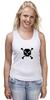 """Майка (Женская) """"Pixel Art Skull"""" - skull, череп, pixel art, пиксельарт, pixelart, пиксельная графика"""