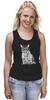 """Майка (Женская) """"Кот-хипстер и мышь"""" - кот, юмор, мышь, mouse, очки, cat, хипстер, hipster, glasses, умный"""