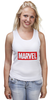 "Майка (Женская) ""Marvel"" - комиксы, классная, крутая, marvel, spider man, марвел, железный человек, iron man, капитан америка, локи"