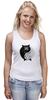 """Майка (Женская) """"Угрюмый Кот Инь-Янь"""" - cat, инь и ян, grumpy cat, угрюмый кот"""