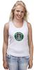 "Майка (Женская) ""Too Much Coffee"" - пародия, starbucks, старбакс, слишком много кофе"
