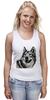 """Майка (Женская) """"Добродушный волк"""" - хищник, animal, волк, wolf"""