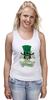 """Майка (Женская) """"Настоящий Ирландец (100% Irish)"""" - череп, клевер, патрик, лепрекон, настоящий ирландец"""