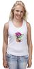 """Майка (Женская) """"цветы """" - арт, цветы, акварель, герань"""