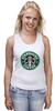 "Майка (Женская) ""starbucks coffee"" - зеленый, кофе, coffee, русалка, starbucks, старбакс"