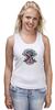 """Майка (Женская) """"Skull Art"""" - череп, free, американский флаг, american flag, череп и кости"""