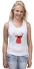 """Майка классическая """"Deer"""" - cool, red, олень, хипстер, shades, deer"""