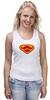 """Майка (Женская) """"Супермен-усач-бородач"""" - супермен, superman, борода, усы, бородач"""