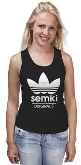 "Майка (Женская) ""Semki"" - adidas, логотип, адидас, антибренд, семки"