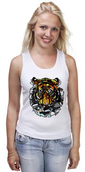 """Майка (Женская) """"морда тигра"""" - хищник, tiger, тигр"""