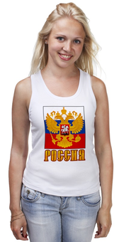 """Майка (Женская) """"Россия герб"""" - патриот, флаг, родина, триколор, горжусь"""