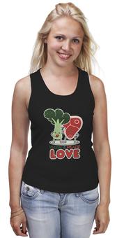 """Майка классическая """"Овощно-мясная любовь"""" - любовь, мясо, веган, вегетарианец, овощи"""