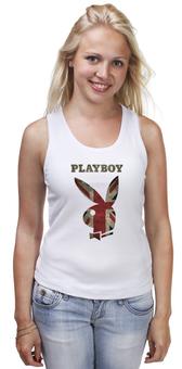 """Майка (Женская) """"Playboy Британский флаг"""" - playboy, плейбой, зайчик, великобритания, плэйбой"""