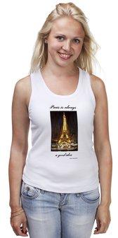 """Майка классическая """"Париж"""" - шоколад, париж, одри хепберн, paris, эйфелева башня"""