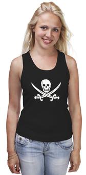 """Майка классическая """"Веселый Роджер."""" - череп, jolly roger, пират, веселый роджер, pirates, пираты карибского моря, пиратский флаг"""