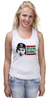 "Майка (Женская) ""RUN EMC"" - рэп, физика, эйнштейн, run dmc, альберт эйнштейн"